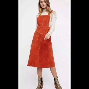 New Free People Suede Apron Dress Size 4